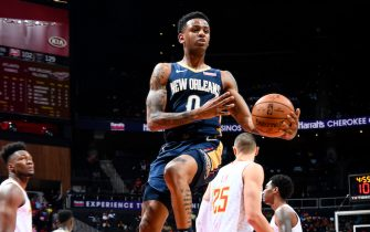 ATLANTA, GA - OCTOBER 7: Nickeil Alexander-Walker #0 of the New Orleans Pelicans handles the ball against the Atlanta Hawks during a pre-season game on October 7, 2019 at State Farm Arena in Atlanta, Georgia. NOTE TO USER: User expressly acknowledges and agrees that, by downloading and/or using this Photograph, user is consenting to the terms and conditions of the Getty Images License Agreement. Mandatory Copyright Notice: Copyright 2019 NBAE (Photo by Scott Cunningham/NBAE via Getty Images)