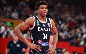 SHENZHEN, CHINA - SEPTEMBER 7:  Giannis Antetokounmpo #34 of Greece looks on during the Second Round of the 2019 FIBA Basketball World Cup on September 7, 2019 at the Shenzhen Bay Sports Center in Shenzhen, China. NOTE TO USER: User expressly acknowledges and agrees that, by downloading and or using this photograph, User is consenting to the terms and conditions of the Getty Images License Agreement. Mandatory Copyright Notice: Copyright 2019 NBAE  (Photo by David Dow/NBAE via Getty Images)