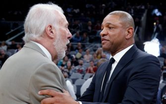SAN ANTONIO, TX - JANUARY 20:  Doc Rivers head coach of the Los Angeles Clippers greets Gregg Popvich head coach of the San Antonio Spurs at AT&T Center on January 20, 2019 in San Antonio, Texas.  NOTE TO USER: User expressly acknowledges and agrees that , by downloading and or using this photograph, User is consenting to the terms and conditions of the Getty Images License Agreement. (Photo by Ronald Cortes/Getty Images)
