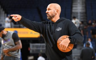 LOS ANGELES, CA - OCTOBER 5: Assistant coach Jason Kidd looks on before the game against the Golden State Warriors on October 5, 2019 at STAPLES Center in Los Angeles, California. NOTE TO USER: User expressly acknowledges and agrees that, by downloading and/or using this Photograph, user is consenting to the terms and conditions of the Getty Images License Agreement. Mandatory Copyright Notice: Copyright 2019 NBAE (Photo by Andrew D. Bernstein/NBAE via Getty Images)