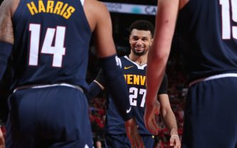 PORTLAND, OR - MAY 5: Jamal Murray #27 of the Denver Nuggets smiles during the game against the Portland Trail Blazers during Game Four of the Western Conference Semifinals of the 2019 NBA Playoffs on May 5, 2019 at the Moda Center Arena in Portland, Oregon. NOTE TO USER: User expressly acknowledges and agrees that, by downloading and or using this photograph, user is consenting to the terms and conditions of the Getty Images License Agreement. Mandatory Copyright Notice: Copyright 2019 NBAE (Photo by Sam Forencich/NBAE via Getty Images)
