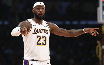 LOS ANGELES, CALIFORNIA - OCTOBER 16:  LeBron James #23 of the Los Angeles Lakers looks on during the secondhalf of a game against the Golden State Warriors at Staples Center on October 16, 2019 in Los Angeles, California. (Photo by Sean M. Haffey/Getty Images)