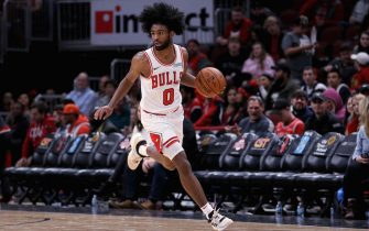 CHICAGO, ILLINOIS - OCTOBER 17: Coby White #0 of the Chicago Bulls dribbles the ball in the fourth quarter against the Atlanta Hawks during a preseason game at the United Center on October 17, 2019 in Chicago, Illinois. NOTE TO USER: User expressly acknowledges and agrees that, by downloading and/or using this photograph, user is consenting to the terms and conditions of the Getty Images License Agreement. (Photo by Dylan Buell/Getty Images)
