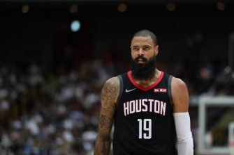 SAITAMA, JAPAN - OCTOBER 10: Tyson Chandler #19 of Houston Rockets looks on during the preseason game between Toronto Raptors and Houston Rockets at Saitama Super Arena on October 10, 2019 in Saitama, Japan. NOTE TO USER: User expressly acknowledges and agrees that, by downloading and/or using this photograph, user is consenting to the terms and conditions of the Getty Images License Agreement. (Photo by Takashi Aoyama/Getty Images)