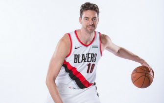 PORTLAND, OR - SEPTEMBER 30: Pau Gasol #16 of the Portland Trail Blazers poses for a portrait during Media Day September 30, 2019 at the Veterans Memorial Coliseum Portland, Oregon. NOTE TO USER: User expressly acknowledges and agrees that, by downloading and or using this photograph, user is consenting to the terms and conditions of the Getty Images License Agreement. Mandatory Copyright Notice: Copyright 2019 NBAE (Photo by Sam Forencich/NBAE via Getty Images)