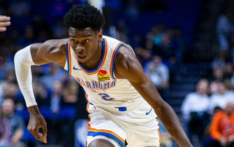 OKLAHOMA CITY, OK- OCTOBER: Shai Gilgeous-Alexander #2 of the Oklahoma City Thunder handles the ball Dallas Mavericks on October 8, 2019 at BOK Center in Tulsa, Oklahoma. NOTE TO USER: User expressly acknowledges and agrees that, by downloading and or using this photograph, User is consenting to the terms and conditions of the Getty Images License Agreement. Mandatory Copyright Notice: Copyright 2019 NBAE (Photo by Zach Beeker/NBAE via Getty Images)