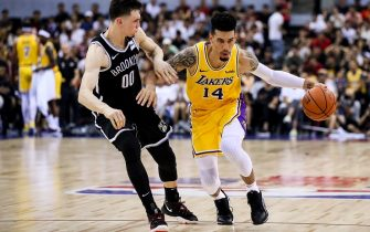 SHENZHEN, CHINA - OCTOBER 12: #14 Danny Green of Los Angeles Lakers drives the ball during NBA China Games 2019 between Los Angeles Lakers and Brooklyn Nets at Shenzhen Universiade Center on October 12, 2019 in Shenzhen, China. NOTE TO USER: User expressly acknowledges and agrees that, by downloading and/or using this photograph, user is consenting to the terms and conditions of the Getty Images License Agreement. (Photo by Zhizhao Wu/Getty Images)