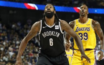 SHANGHAI, CHINA - OCTOBER 10: DeAndre Jordan #6 of the Brooklyn Nets plays defense against the Los Angeles Lakers during a preseason game as part of 2019 NBA Global Games China on October 10, 2019 at Mercedes Benz Arena in Shanghai, China. NOTE TO USER: User expressly acknowledges and agrees that, by downloading and/or using this Photograph, user is consenting to the terms and conditions of the Getty Images License Agreement. Mandatory Copyright Notice: Copyright 2019 NBAE (Photo by Nathaniel S. Butler/NBAE via Getty Images)