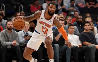 NEW YORK, NEW YORK - OCTOBER 16: Marcus Morris #13 of the New York Knicks dribbles the ball during the third quarter of the preseason game against the Atlanta Hawks at Madison Square Garden on October 16, 2019 in New York City. NOTE TO USER: User expressly acknowledges and agrees that, by downloading and or using this Photograph, user is consenting to the terms and conditions of the Getty Images License Agreement. Mandatory Copyright Notice: Copyright 2019 NBAE (Photo by Sarah Stier/Getty Images)