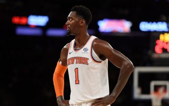 NEW YORK, NEW YORK - OCTOBER 16: Bobby Portis #1 of the New York Knicks looks on during the fourth quarter of the preseason game against the Atlanta Hawks at Madison Square Garden on October 16, 2019 in New York City. NOTE TO USER: User expressly acknowledges and agrees that, by downloading and or using this Photograph, user is consenting to the terms and conditions of the Getty Images License Agreement. Mandatory Copyright Notice: Copyright 2019 NBAE (Photo by Sarah Stier/Getty Images)