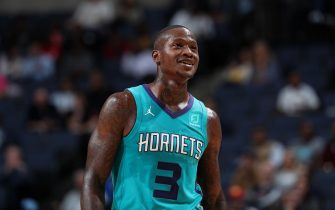 MEMPHIS, TN - OCTOBER 14: Terry Rozier #3 of the Charlotte Hornets smiles against the Memphis Grizzlies during a pre-season game on October 14, 2019 at FedExForum in Memphis, Tennessee. NOTE TO USER: User expressly acknowledges and agrees that, by downloading and or using this photograph, User is consenting to the terms and conditions of the Getty Images License Agreement. Mandatory Copyright Notice: Copyright 2019 NBAE (Photo by Joe Murphy/NBAE via Getty Images)