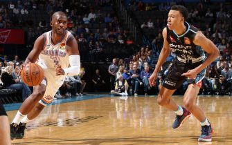 OKLAHOMA CITY, OK- OCTOBER 10: Chris Paul #3 of the Oklahoma City Thunder drives to the basket against the New Zealand Breakers during the preseason on October 10, 2019 at Chesapeake Energy Arena in Oklahoma City, Oklahoma. NOTE TO USER: User expressly acknowledges and agrees that, by downloading and or using this photograph, User is consenting to the terms and conditions of the Getty Images License Agreement. Mandatory Copyright Notice: Copyright 2019 NBAE (Photo by Zach Beeker/NBAE via Getty Images)