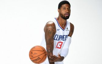 PLAYA VISTA, CA - SEPTEMBER 29: Paul George #13 of the LA Clippers poses for a portrait during media day on September 29, 2019 at the Honey Training Center: Home of the LA Clippers in Playa Vista, California. NOTE TO USER: User expressly acknowledges and agrees that, by downloading and/or using this photograph, user is consenting to the terms and conditions of the Getty Images License Agreement. Mandatory Copyright Notice: Copyright 2019 NBAE (Photo by Andrew D. Bernstein/NBAE via Getty Images)