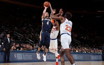 NEW YORK, NY - OCTOBER 18: JJ Redick #4 of the New Orleans Pelicans shoots the ball against the New York Knicks during a pre-season game on October 18, 2019 at Madison Square Garden in New York City, New York. NOTE TO USER: User expressly acknowledges and agrees that, by downloading and or using this photograph, User is consenting to the terms and conditions of the Getty Images License Agreement. Mandatory Copyright Notice: Copyright 2019 NBAE  (Photo by Nathaniel S. Butler/NBAE via Getty Images)