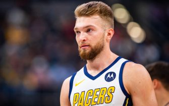 INDIANAPOLIS, IN - MARCH 14:  Domantas Sabonis #11 of the Indiana Pacers looks on against the Oklahoma City Thunder on March 14, 2019 at Bankers Life Fieldhouse in Indianapolis, Indiana. NOTE TO USER: User expressly acknowledges and agrees that, by downloading and or using this Photograph, user is consenting to the terms and conditions of the Getty Images License Agreement. Mandatory Copyright Notice: Copyright 2019 NBAE (Photo by Zach Beeker/NBAE via Getty Images)