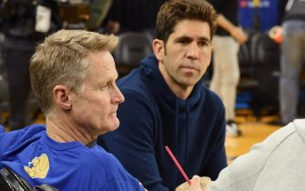 OAKLAND, CA - JUNE 6: Head coach Steve Kerr and Bob Myers attend media availability as part of the 2019 NBA Finals on June 6, 2019 at ORACLE Arena in Oakland, California. NOTE TO USER: User expressly acknowledges and agrees that, by downloading and or using this photograph, User is consenting to the terms and conditions of the Getty Images License Agreement. Mandatory Copyright Notice: Copyright 2019 NBAE (Photo by Andrew D. Bernstein/NBAE via Getty Images)