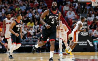 MIAMI, FLORIDA - OCTOBER 18: James Harden #13 of the Houston Rockets reacts after making a three pointer against the Miami Heat during the second half at American Airlines Arena on October 18, 2019 in Miami, Florida. NOTE TO USER: User expressly acknowledges and agrees that, by downloading and or using this photograph, User is consenting to the terms and conditions of the Getty Images License Agreement. (Photo by Michael Reaves/Getty Images)