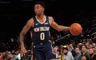 NEW YORK, NY - OCTOBER 18: Nickeil Alexander-Walker #0 of the New Orleans Pelicans handles the ball against the New York Knicks during a pre-season game on October 18, 2019 at Madison Square Garden in New York City, New York. NOTE TO USER: User expressly acknowledges and agrees that, by downloading and or using this photograph, User is consenting to the terms and conditions of the Getty Images License Agreement. Mandatory Copyright Notice: Copyright 2019 NBAE  (Photo by Nathaniel S. Butler/NBAE via Getty Images)