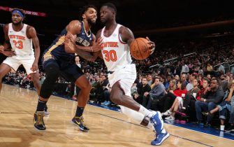 NEW YORK, NY - OCTOBER 18: Julius Randle #30 of the New York Knicks handles the ball against the New Orleans Pelicans during a pre-season game on October 18, 2019 at Madison Square Garden in New York City, New York. NOTE TO USER: User expressly acknowledges and agrees that, by downloading and or using this photograph, User is consenting to the terms and conditions of the Getty Images License Agreement. Mandatory Copyright Notice: Copyright 2019 NBAE  (Photo by Nathaniel S. Butler/NBAE via Getty Images)