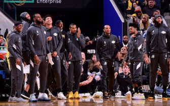 SAN FRANCISCO, CA - OCTOBER 18: The Los Angeles Lakers reacts to a play against the Golden State Warriors during a pre-season game on October 18, 2019 at Chase Center in San Francisco, California. NOTE TO USER: User expressly acknowledges and agrees that, by downloading and or using this photograph, User is consenting to the terms and conditions of the Getty Images License Agreement. Mandatory Copyright Notice: Copyright 2019 NBAE (Photo by Noah Graham/NBAE via Getty Images)