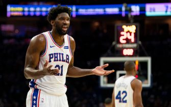PHILADELPHIA, PA - OCTOBER 18: Joel Embiid #21 of the Philadelphia 76ers reacts against the Washington Wizards in the third quarter of the preseason game at the Wells Fargo Center on October 18, 2019 in Philadelphia, Pennsylvania. The Wizards defeated the 76ers 112-93. NOTE TO USER: User expressly acknowledges and agrees that, by downloading and or using this photograph, User is consenting to the terms and conditions of the Getty Images License Agreement.(Photo by Mitchell Leff/Getty Images)