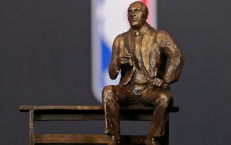 SANTA MONICA, CA - JUNE 25: The Red Auerbach Trophy given to the NBA Coach of the Year seen at the NBA Awards Show on June 25, 2018 at the Barker Hangar in Santa Monica, California. NOTE TO USER: User expressly acknowledges and agrees that, by downloading and/or using this photograph, user is consenting to the terms and conditions of the Getty Images License Agreement. Mandatory Copyright Notice: Copyright 2018 NBAE (Photo by Will Navarro/NBAE via Getty Images)