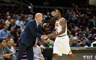 CLEVELAND, OHIO - OCTOBER 07:  Head coach John Beilein congratulates Collin Sexton #2 of the Cleveland Cavaliers as Sexton leaves the game during the first half of a preseason game against San Lorenzo De Almagro at Rocket Mortgage Fieldhouse on October 07, 2019 in Cleveland, Ohio. NOTE TO USER: User expressly acknowledges and agrees that, by downloading and/or using this photograph, user is consenting to the terms and conditions of the Getty Images License Agreement. (Photo by Jason Miller/Getty Images)