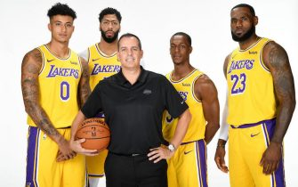EL SEGUNDO, CA - SEPTEMBER 27: Kyle Kuzma #0, Anthony Davis #3, Head Coach Frank Vogel, Rajon Rondo #9, and LeBron James #23 of the Los Angeles Lakers pose for a portrait during media day on September 27, 2019 at the UCLA Health Training Center in El Segundo, California. NOTE TO USER: User expressly acknowledges and agrees that, by downloading and/or using this photograph, user is consenting to the terms and conditions of the Getty Images License Agreement. Mandatory Copyright Notice: Copyright 2019 NBAE (Photo by Andrew D. Bernstein/NBAE via Getty Images)