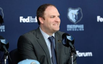 MEMPHIS, TN - JUNE 21: Head Coach Taylor Jenkins of the Memphis Grizzlies speaks at a press conference on June 21, 2019 at FedExForum in Memphis, Tennessee. NOTE TO USER: User expressly acknowledges and agrees that, by downloading and or using this photograph, User is consenting to the terms and conditions of the Getty Images License Agreement. Mandatory Copyright Notice: Copyright 2019 NBAE (Photo by Joe Murphy/NBAE via Getty Images)