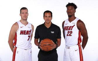 MIAMI, FL - September 30: Goran Dragic #7, Head Coach Erik Spoelstra, and Jimmy Butler #22 of the Miami Heat pose for a portrait during the 2019 Media Day at American Airlines Arena on September 30, 2019 in Miami, Florida. NOTE TO USER: User expressly acknowledges and agrees that, by downloading and/or using this photograph, user is consenting to the terms and conditions of the Getty Images License Agreement. Mandatory copyright notice: Copyright NBAE 2019 (Photo by Issac Baldizon/NBAE via Getty Images)