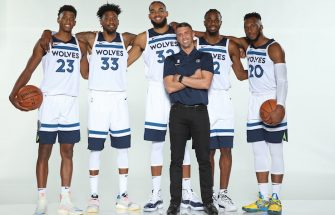 MINNEAPOLIS, MN - SEPTEMBER 30: Jarrett Culver #23, Robert Covington #33, Karl-Anthony Towns #32, Ryan Saunders, Andrew Wiggins #22 and Josh Okogie #20 of the Minnesota Timberwolves pose for a portrait during Media Day on September 30, 2019 at Target Center in Minneapolis, Minnesota. NOTE TO USER: User expressly acknowledges and agrees that, by downloading and or using this Photograph, user is consenting to the terms and conditions of the Getty Images License Agreement. Mandatory Copyright Notice: Copyright 2019 NBAE (Photo by David Sherman/NBAE via Getty Images)