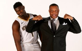 NEW ORLEANS, LA - JUNE 21: Head Coach Alvin Gentry and Zion Williamson #1 of the New Orleans Pelicans poses for a portrait on June 21, 2019 at the Ochsner Sports Performance Center in New Orleans, Louisiana. NOTE TO USER: User expressly acknowledges and agrees that, by downloading and or using this Photograph, user is consenting to the terms and conditions of the Getty Images License Agreement. Mandatory Copyright Notice: Copyright 2019 NBAE (Photo by Layne Murdoch/NBAE via Getty Images