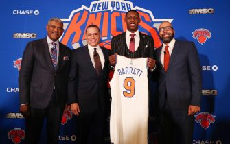 New York CITY, NY - JUNE 21: New York Knicks welcome R.J. Barrett and Ignas Brazdeikis to the team and the city on June 21, 2019 at Madison Square Garden in New York, New York. NOTE TO USER: User expressly acknowledges and agrees that, by downloading and/or using this photograph, user is consenting to the terms and conditions of the Getty Images License Agreement. Mandatory Copyright Notice: Copyright 2019 NBAE (Photo by Nathaniel S. Butler/NBAE via Getty Images)