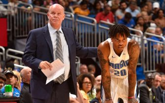 ORLANDO, FL - OCTOBER 13: Head Coach Steve Clifford, and Markelle Fultz #20 of the Orlando Magic look on during a pre-season game against the Philadelphia 76ers on October 13, 2019 at Amway Center in Orlando, Florida. NOTE TO USER: User expressly acknowledges and agrees that, by downloading and or using this photograph, User is consenting to the terms and conditions of the Getty Images License Agreement. Mandatory Copyright Notice: Copyright 2019 NBAE  (Photo by Gary Bassing/NBAE via Getty Images)