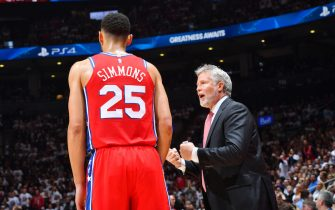 TORONTO, CANADA - MAY 12: Ben Simmons #25 talks with Head Coach Brett Brown of the Philadelphia 76ers against the Toronto Raptors during Game Seven of the Eastern Conference Semi-Finals of the 2019 NBA Playoffs on May 12, 2019 at the Scotiabank Arena in Toronto, Ontario, Canada.  NOTE TO USER: User expressly acknowledges and agrees that, by downloading and or using this Photograph, user is consenting to the terms and conditions of the Getty Images License Agreement.  Mandatory Copyright Notice: Copyright 2019 NBAE (Photo by Jesse D. Garrabrant/NBAE via Getty Images)