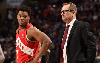 PHILADELPHIA, PA - MAY 9: Kyle Lowry #7 and Head Coach Nick Nurse of the Toronto Raptors look on against the Philadelphia 76ers during Game Six of the Eastern Conference Semifinals of the 2019 NBA Playoffs on May 9, 2019 at the Wells Fargo Center in Philadelphia, Pennsylvania. NOTE TO USER: User expressly acknowledges and agrees that, by downloading and/or using this photograph, user is consenting to the terms and conditions of the Getty Images License Agreement. Mandatory Copyright Notice: Copyright 2019 NBAE (Photo by David Dow/NBAE via Getty Images)