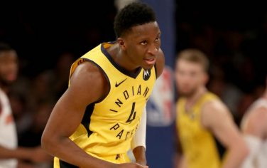 NEW YORK, NEW YORK - JANUARY 11:  Victor Oladipo #4 of the Indiana Pacers celebrates his three point shot in the second half against the New York Knicks at Madison Square Garden on January 11, 2019 in New York City.The Indiana Pacers defeated the New York Knicks 121-106..NOTE TO USER: User expressly acknowledges and agrees that, by downloading and or using this photograph, User is consenting to the terms and conditions of the Getty Images License Agreement. (Photo by Elsa/Getty Images)