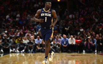 CHICAGO, ILLINOIS - OCTOBER 09:  Zion Williamson #1 of the New Orleans Pelicans walks backcourt during a preseason game against the Chicago Bulls at the United Center on October 09, 2019 in Chicago, Illinois. NOTE TO USER: User expressly acknowledges and agrees that, by downloading and or using this photograph, User is consenting to the terms and conditions of the Getty Images License Agreement. (Photo by Stacy Revere/Getty Images)