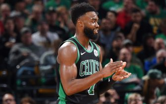 BOSTON, MA - APRIL 14: Jaylen Brown #7 of the Boston Celtics celebrates during Game One of Round One of the 2019 NBA Playoffs on April 14, 2019 at the TD Garden in Boston, Massachusetts.  NOTE TO USER: User expressly acknowledges and agrees that, by downloading and or using this photograph, User is consenting to the terms and conditions of the Getty Images License Agreement. Mandatory Copyright Notice: Copyright 2019 NBAE  (Photo by Brian Babineau/NBAE via Getty Images)