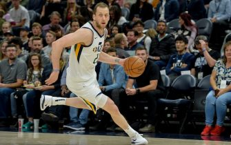 SALT LAKE CITY, UT - OCTOBER 14:  Joe Ingles #2 of the Utah Jazz drives during a preseason game against the Sacramento Kings at Vivint Smart Home Arena on October 14, 2019 in Salt Lake City, Utah. NOTE TO USER: User expressly acknowledges and agrees that, by downloading and or using this photograph, User is consenting to the terms and conditions of the Getty Images License Agreement.  (Photo by Alex Goodlett/Getty Images)