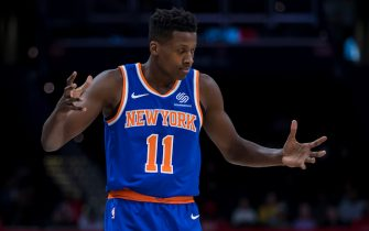 WASHINGTON, DC - OCTOBER 07: Frank Ntilikina #11 of the New York Knicks reacts against the Washington Wizards during the first half at Capital One Arena on October 7, 2019 in Washington, DC. NOTE TO USER: User expressly acknowledges and agrees that, by downloading and or using this photograph, User is consenting to the terms and conditions of the Getty Images License Agreement. (Photo by Scott Taetsch/Getty Images)