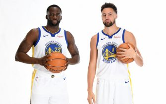 SAN FRANCISCO, CA - SEPTEMBER 30: Draymond Green #23 Klay Thompson #11 of the Golden State Warriors poses for a portrait during media day on September 30, 2019 at the Biofreeze Performance Center in San Francisco, California. NOTE TO USER: User expressly acknowledges and agrees that, by downloading and/or using this photograph, user is consenting to the terms and conditions of the Getty Images License Agreement. Mandatory Copyright Notice: Copyright 2019 NBAE (Photo by Noah Graham/NBAE via Getty Images)