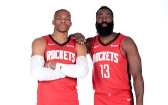 HOUSTON, TX - SEPTEMBER 27: Russell Westbrook #0 and James Harden #13 of the Houston Rockets pose for a portrait during media day on September 27, 2019 at The Post Oak Hotel in Houston, Texas. NOTE TO USER: User expressly acknowledges and agrees that, by downloading and/or using this photograph, user is consenting to the terms and conditions of the Getty Images License Agreement. Mandatory Copyright Notice: Copyright 2019 NBAE (Photo by Troy Fields/NBAE via Getty Images)
