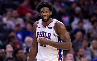 PHILADELPHIA, PA - OCTOBER 18: Joel Embiid #21 of the Philadelphia 76ers reacts against the Washington Wizards during the preseason game at the Wells Fargo Center on October 18, 2019 in Philadelphia, Pennsylvania. NOTE TO USER: User expressly acknowledges and agrees that, by downloading and or using this photograph, User is consenting to the terms and conditions of the Getty Images License Agreement.(Photo by Mitchell Leff/Getty Images)