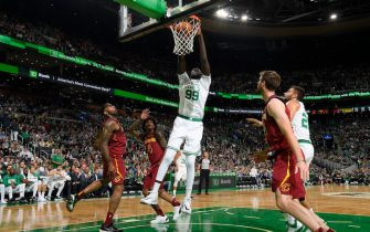 BOSTON, MA - OCTOBER 13: Tacko Fall #99 of the Boston Celtics dunks the ball against the Cleveland Cavaliers during a pre-season game on October 13, 2019 at the TD Garden in Boston, Massachusetts. NOTE TO USER: User expressly acknowledges and agrees that, by downloading and or using this photograph, User is consenting to the terms and conditions of the Getty Images License Agreement. Mandatory Copyright Notice: Copyright 2019 NBAE (Photo by Brian Babineau/NBAE via Getty Images)