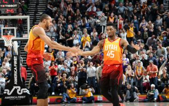SALT LAKE CITY, UT - MARCH 11: Rudy Gobert #27 and Donovan Mitchell #45 of the Utah Jazz react during a game against the Oklahoma City Thunder on March 11, 2019 at vivint.SmartHome Arena in Salt Lake City, Utah. NOTE TO USER: User expressly acknowledges and agrees that, by downloading and or using this Photograph, User is consenting to the terms and conditions of the Getty Images License Agreement. Mandatory Copyright Notice: Copyright 2019 NBAE (Photo by Melissa Majchrzak/NBAE via Getty Images)