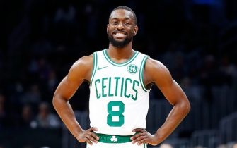 BOSTON, MASSACHUSETTS - OCTOBER 06: Kemba Walker #8 of the Boston Celtics reacts during the first quarter of the game against the Charlotte Hornets at TD Garden on October 06, 2019 in Boston, Massachusetts. NOTE TO USER: User expressly acknowledges and agrees that, by downloading and or using this photograph, User is consenting to the terms and conditions of the Getty Images License Agreement. (Photo by Omar Rawlings/Getty Images)