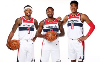 WASHINGTON, DC - SEPTEMEBER 30: Bradley Beal #3, John Wall #2, and Rui Hachimura #8 of the Washington Wizards pose for a portrait during the 2019 NBA Rookie Photo Shoot at the Washington Wizards Practice Facility on September 30, 2019 in Washington, D.C. NOTE TO USER: User expressly acknowledges and agrees that, by downloading and or using this photograph, User is consenting to the terms and conditions of the Getty Images License Agreement. Mandatory Copyright Notice: Copyright 2019 NBAE (Photo by Ned Dishman/NBAE via Getty Images)