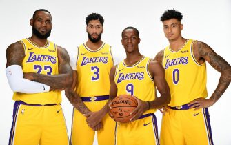 EL SEGUNDO, CA - SEPTEMBER 27: LeBron James #23, Anthony Davis #3, Rajon Rondo #9, and Kyle Kuzma #0 of the Los Angeles Lakers pose for a portrait during media day on September 27, 2019 at the UCLA Health Training Center in El Segundo, California. NOTE TO USER: User expressly acknowledges and agrees that, by downloading and/or using this photograph, user is consenting to the terms and conditions of the Getty Images License Agreement. Mandatory Copyright Notice: Copyright 2019 NBAE (Photo by Andrew D. Bernstein/NBAE via Getty Images)