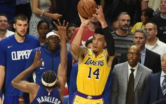 LOS ANGELES, CA - OCTOBER 22: Danny Green #14 of the Los Angeles Lakers shoots the ball against the LA Clippers on October 22, 2019 at STAPLES Center in Los Angeles, California. NOTE TO USER: User expressly acknowledges and agrees that, by downloading and/or using this Photograph, user is consenting to the terms and conditions of the Getty Images License Agreement. Mandatory Copyright Notice: Copyright 2019 NBAE (Photo by Adam Pantozzi/NBAE via Getty Images)
